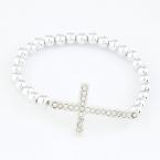 Zilveren Kruis Met Parel Armband