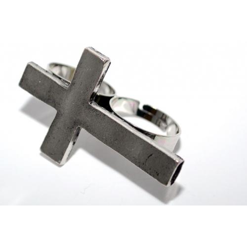 Zilveren Kruis Double-Finger Ring