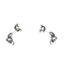 Zilveren Paarden Oorbellen