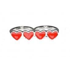Zilver Met Rode Harten Ring