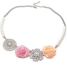 Zilveren Sierlijke Bloemen Ketting