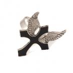 Zilveren Vleugel Met Kruis Ring