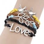 Zilveren Vogel, Blaadjes & Love Armband