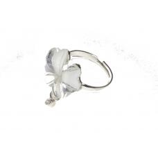 Zilver Witte Bloem Met Kristallen Hangertje Ring