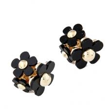 Zwarte Bloemen Oorbellen