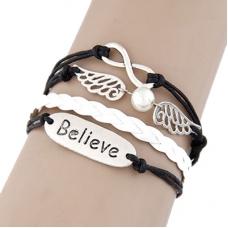 Zwarte Believe Wing Infinity Armband