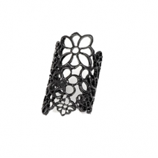 Zwarte Bloem Vinger Ring