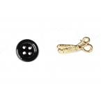 Zwarte Knoop & Gouden Schaar Oorbellen