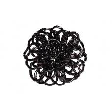 Zwarte Kralen Bloem Ring