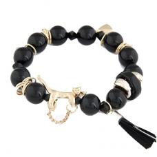 Zwarte Kralen Met Gouden Bedeltjes Armband