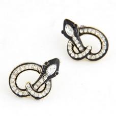 Zwarte Kristallen Slangen Oorbellen
