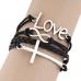 Zwarte Kruis Infinity Love Armband