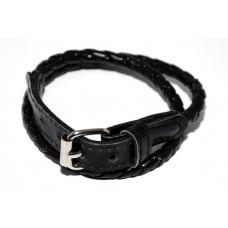 Zwarte Lederenlook Armband