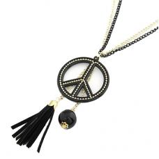 Zwarte Peace Met Hangers Ketting