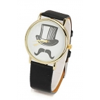 Zwarte Snor Met Hoed Horloge