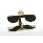 Zwarte Snor Ring Met Bril