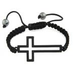 Zwarte Touw Met Kruis Armband