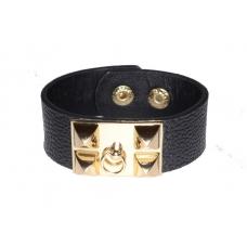 Zwarte Leren Armband Met Gouden Opzet