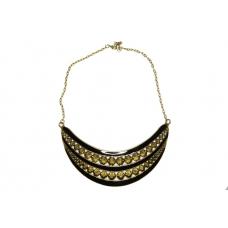 Zwart Met Donker Gouden Pinnen Halsketting