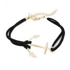 Zwart Met Gouden Anker Armband