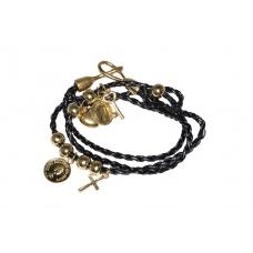 Zwart Met Gouden Bedeltjes Armband