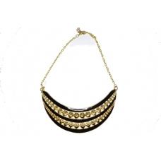 Zwart Met Gouden Pinnen Halsketting