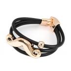Zwart Met Gouden Snor Armband