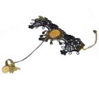 Zwart Met Gouden Vlinder & Stenen Handketting