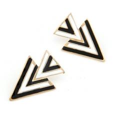 Zwart Met Witte Driehoeken Oorbellen