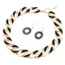 Zwart Witte Chain Ketting & Oorbellen Set